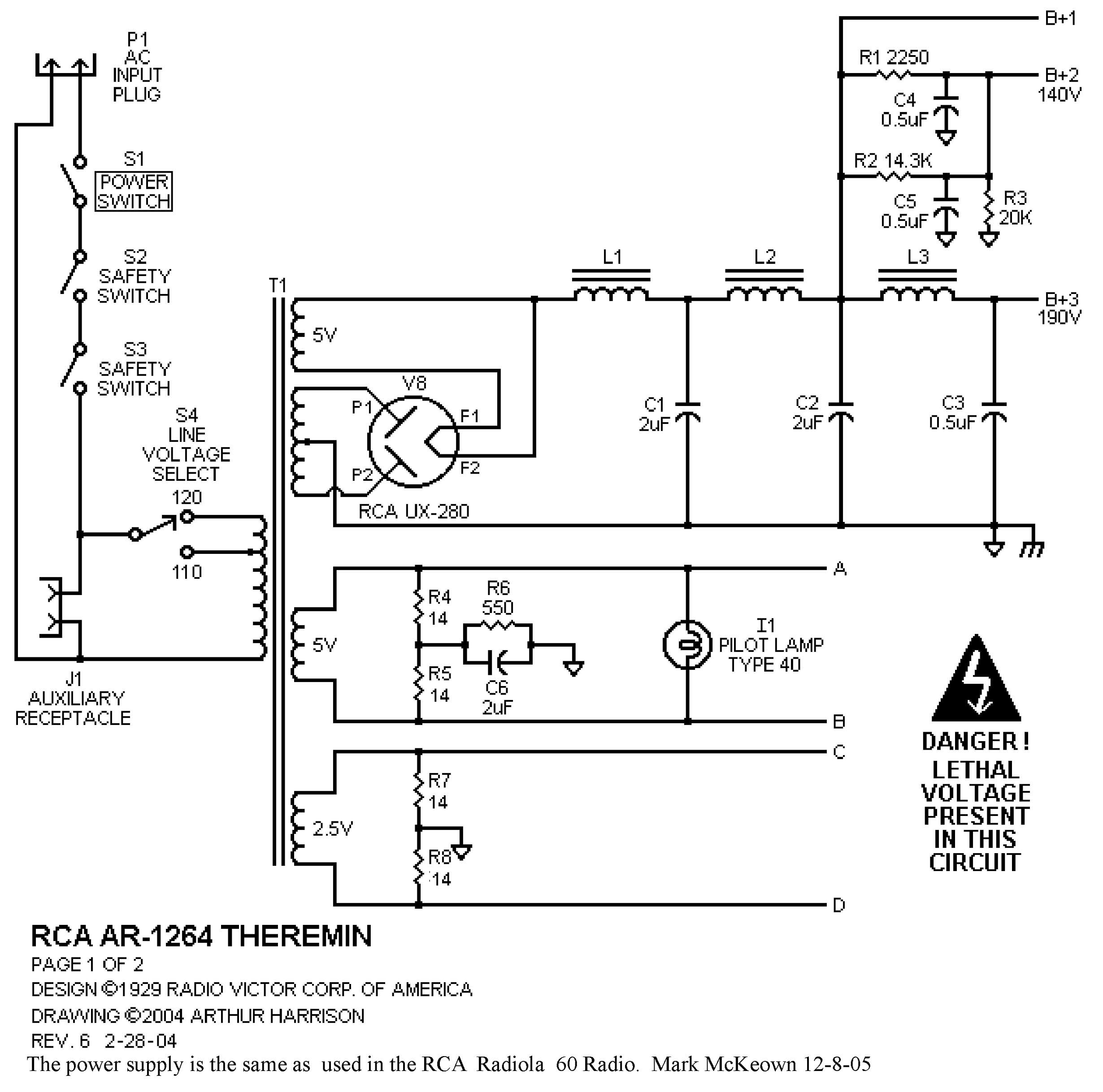 Theremin World - RCA Theremin Component Values and Cabinet Dimensions