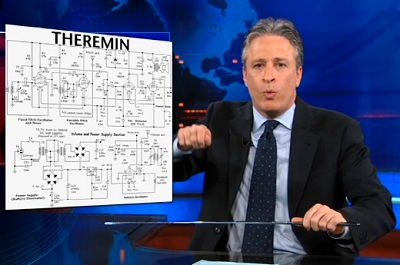 Jon Stewart plays air theremin on The Daily Show