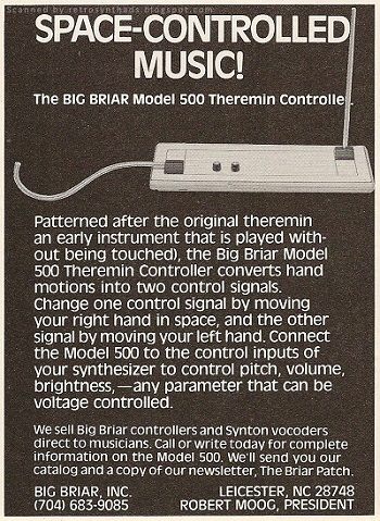 Big Briar Model 500 Theremin Controller (from Retro Synth Ads)