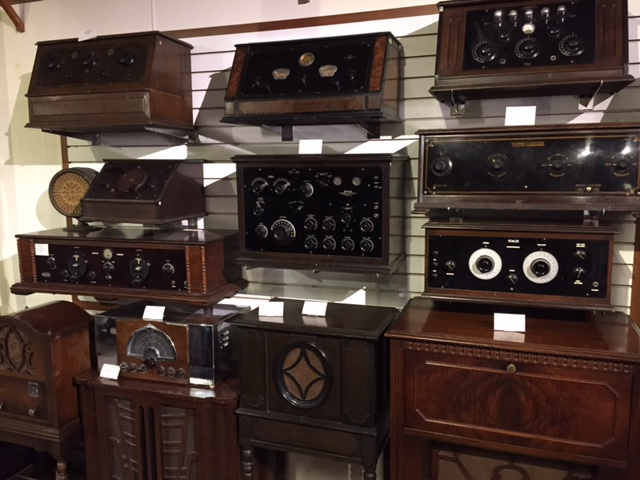 Vintage radios at the Spark Museum