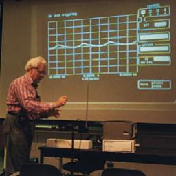 Bob Moog demonstrates the sound wave of a theremin