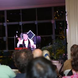Wide shot of theremin concert