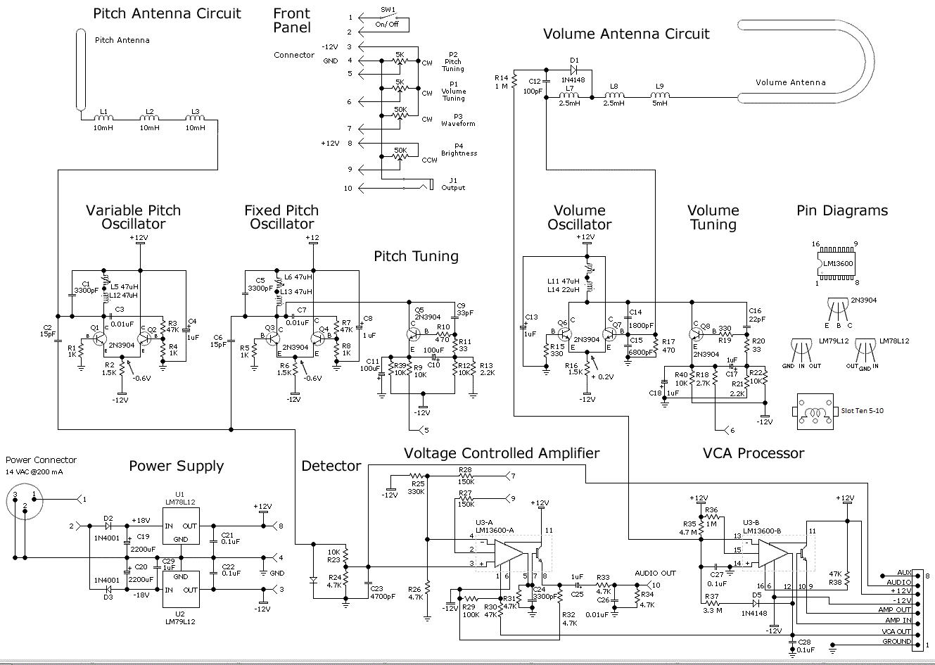 Moog Theremin Coilcraft on Moog Theremin Schematic
